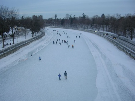 Rideau Canal in Winter in Saskatoon, Canada
